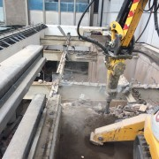 Hammering concrete